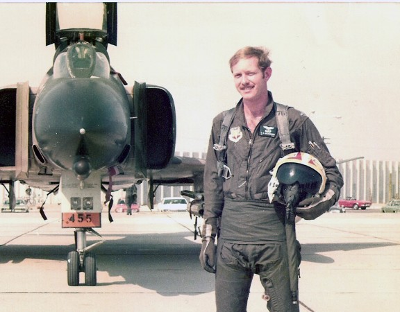 Standing in front of an F-4 jet fighter during my service in the Air Force during the mid-70's.