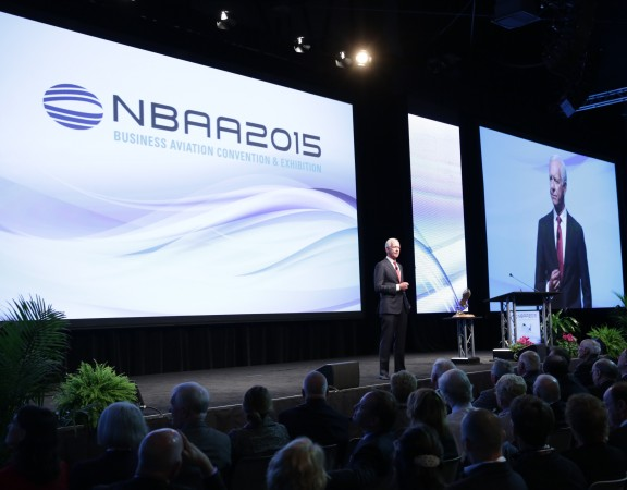 Capt. Sullenberger speaks before the National Business Aviation Association